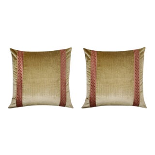 Gold Velvet Pillows With Red Greek Key Trim - A Pair