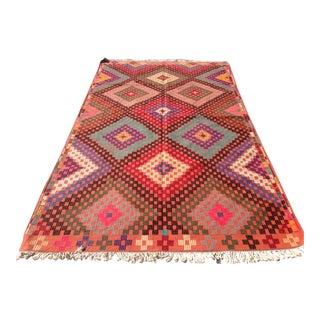 Vintage Turkish Kilim Rug- 5′11″ × 10′4″