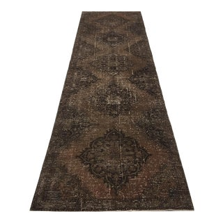 "Vintage Distressed Turkish Runner Rug - 3'6"" X 12'6"""