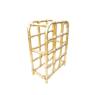 Hollywood Regency Gold Bamboo Rattan Freestanding 12-Slot Bottle Rack