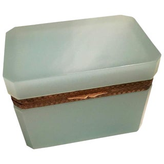 Italian Murano Green Glass Vanity Box