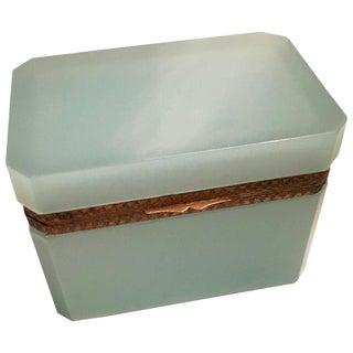 Italian Murano Green Glass Vanity Box