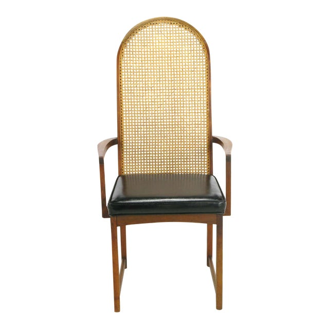 Four Milo Baughman Walnut & Cane Arch-Back Dining Chairs - Image 1 of 9