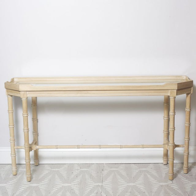 Faux Bamboo Console With Beveled Glass Top - Image 2 of 5