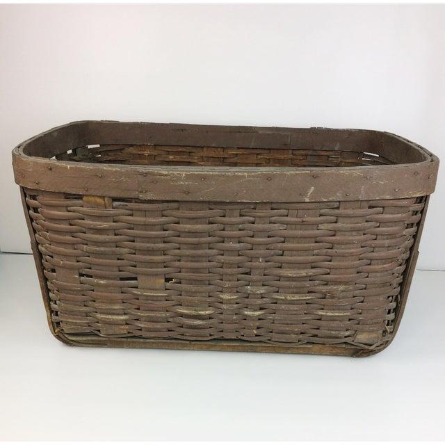 Woven Gathering Basket : Antique primitive braced woven wood gathering basket