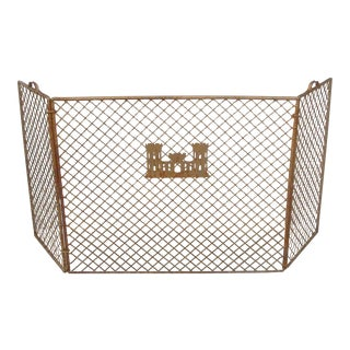 Handforged Iron Fireplace Screen With Castle Emblem