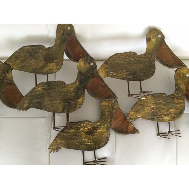 Image of Vintage Large Brass Copper Pelican Decor