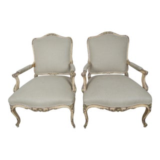 Pair of Louis XV Style French Walnut Armchairs