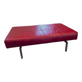Modern Quilted Red Leather Bench