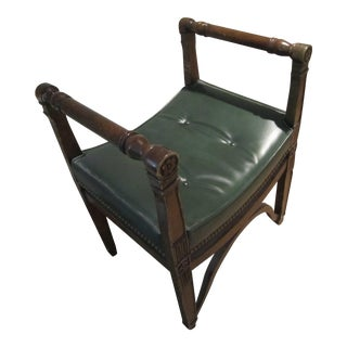Italian Bowed Bench with Green Leather Cushion