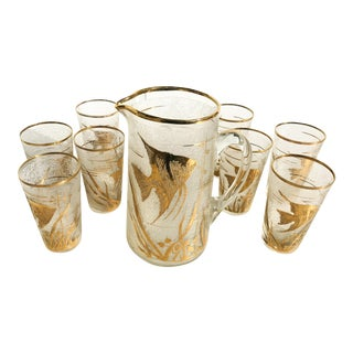 Mid-Century Gold Marine Etched Glass Pitcher With Glasses - 9 Pc. Set