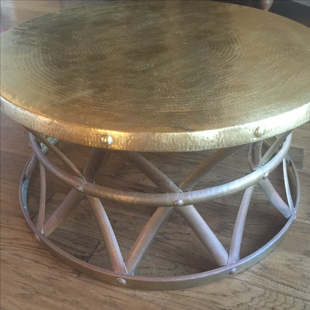 Mid-Century Hammered Brass Coffee Table - Image 7 of 8