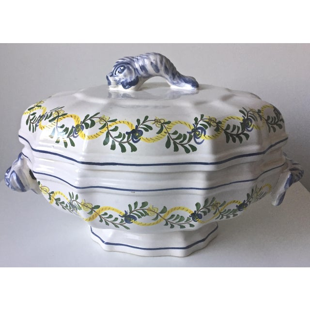 Image of Vintage Faience Dolphin Handle Tureen