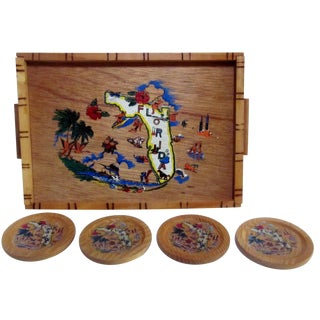 Vintage Florida Bamboo Tray with Coasters 1950's