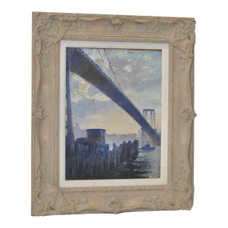 "1930s ""Williamsburg Bridge"" Original Oil Painting by George Sepp"