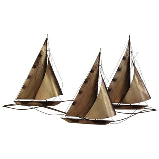 Curtis Jere Sailboat Wall Hanging Sculpture