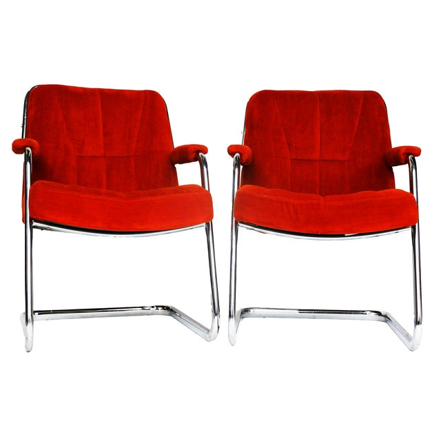 Image of Pair Chrome Milo Baughman-Style Chairs