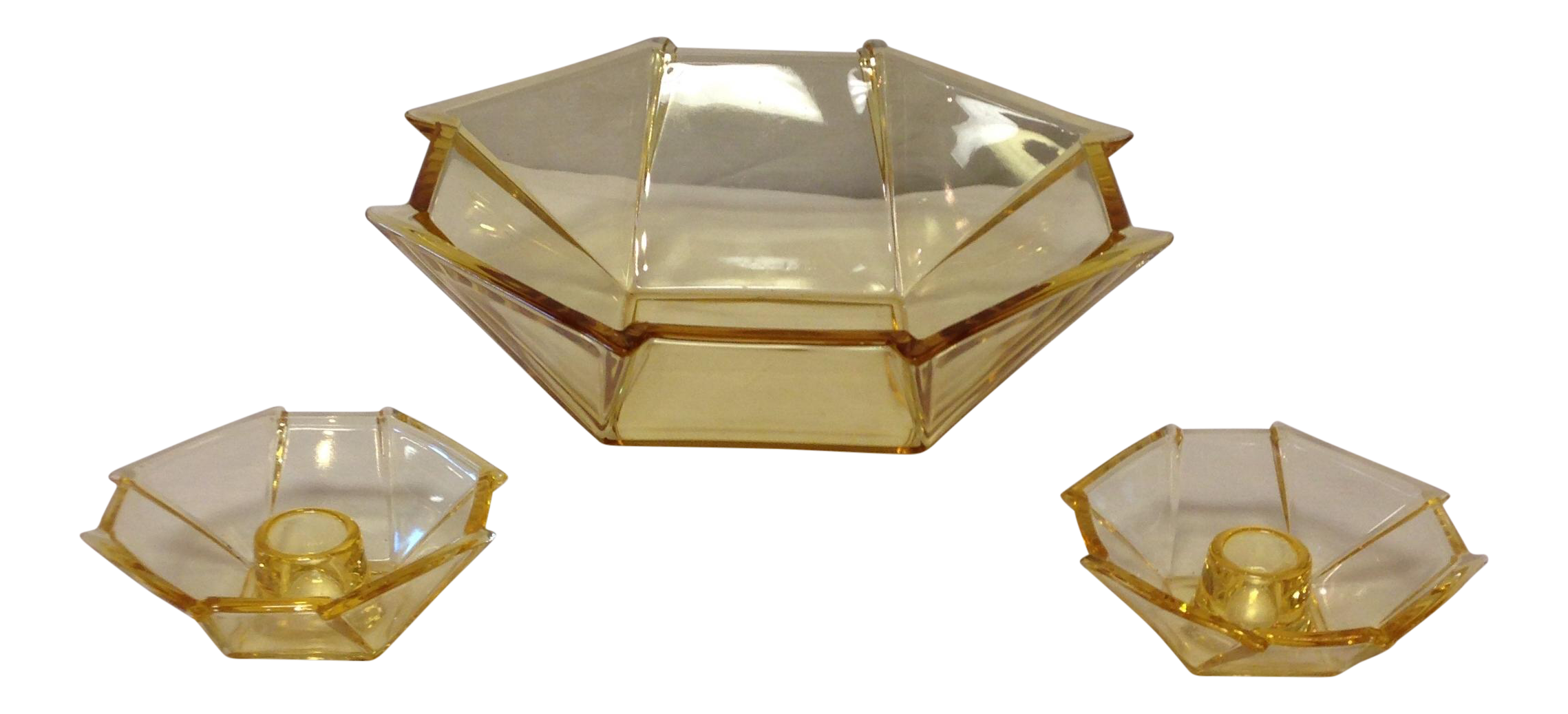 deco yellow glass bowl and candle holders chairish