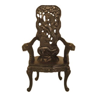 Antique Chinese Monkey Carved Highback Chair