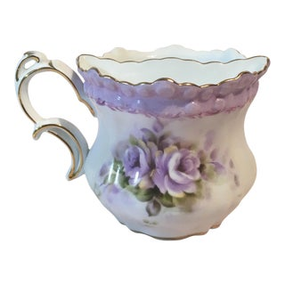Limoges Purple Floral China Mustache Cup