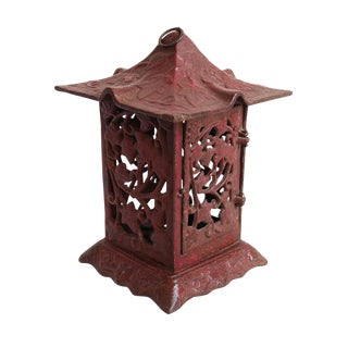 Cast Iron Red Garden Lantern