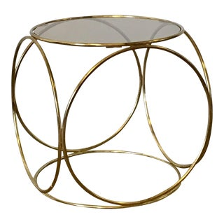 Smokey Glass & Brass Side Table
