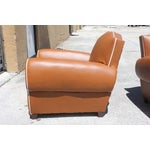 Image of French Art Deco Vinyl Club Chairs - A Pair