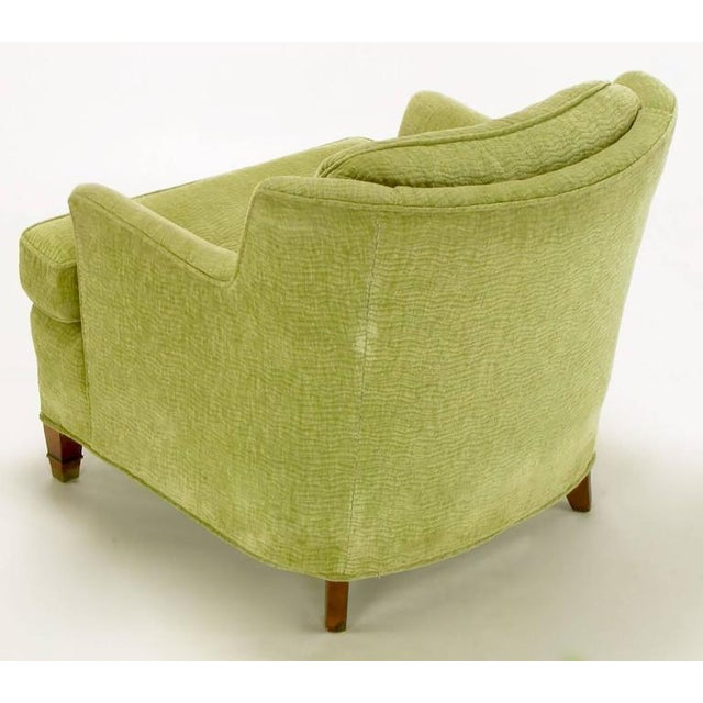 Pair of Pistachio Green Chenille Button-Tufted Low Barrel Back Wing Chairs - Image 6 of 9
