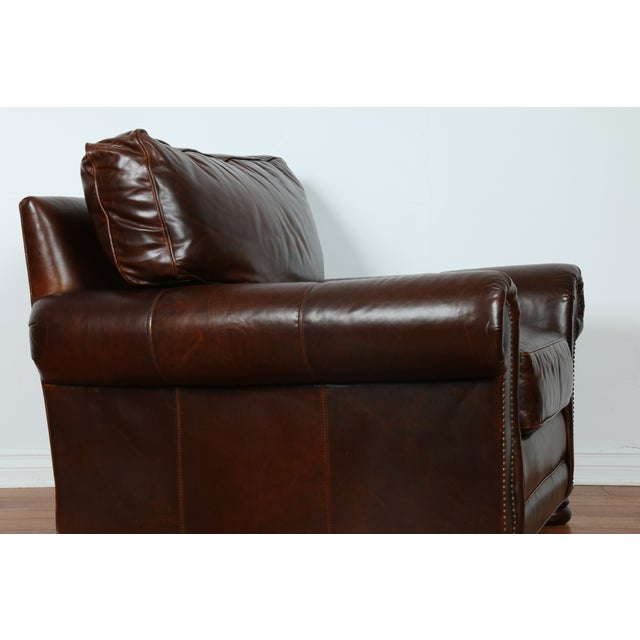 Image of Brown Leather Chair With Ottoman