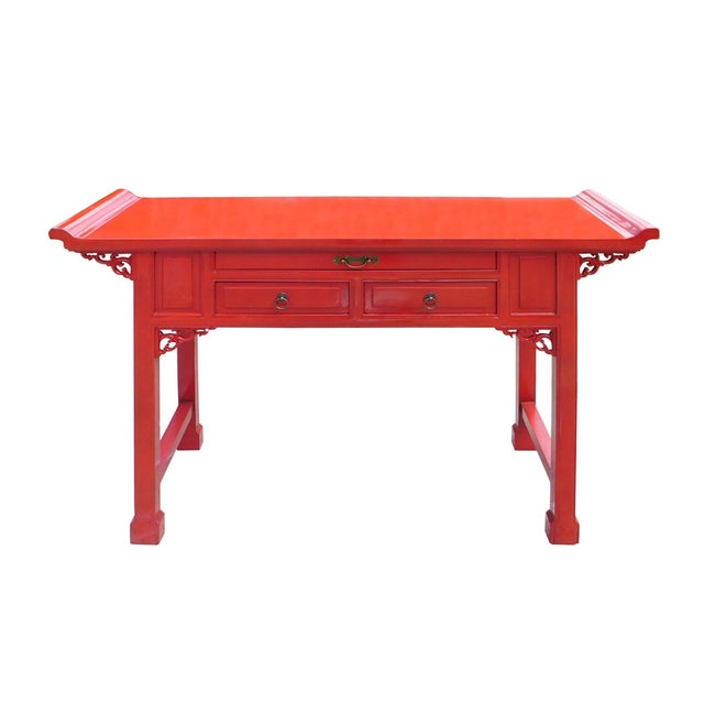 Chinese Red Lacquer Altar Console Table - Image 2 of 7