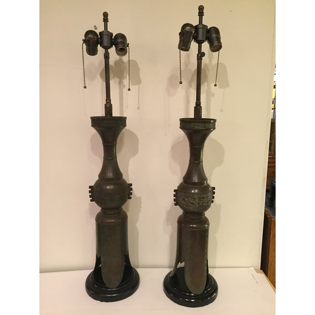 Image of Marbro Chinese Candlesticks Lamps - A Pair