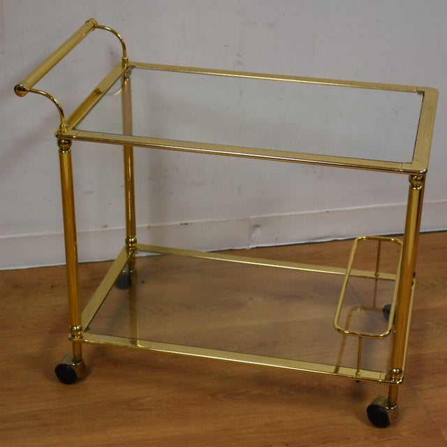 Hollywood Regency Brass Bar Cart - Image 2 of 11