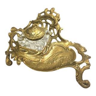 Vintage Victorian Brass Inkwell