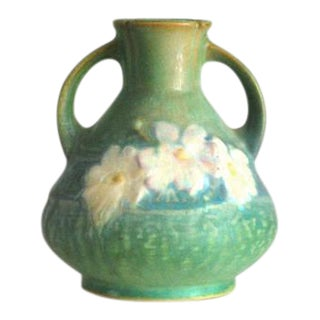 1940s Roseville Pottery Green Cosmos Vase