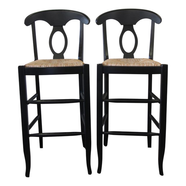 Pottery Barn Black Bar Stools A Pair Chairish