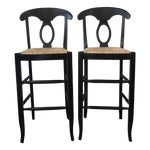 Image of Pottery Barn Black Bar Stools - A Pair