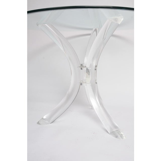 Thick Tube Lucite Table Base and Glass Top - Image 9 of 9