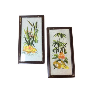 Yarn Needle Point Art - A Pair