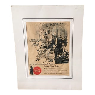 1954 Original Coca Cola Advertisement From France Print