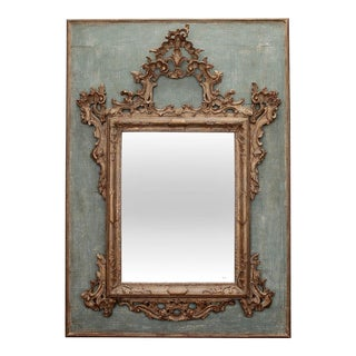 19th Century Hand Carved Italian Mirror On Painted Wood Panel