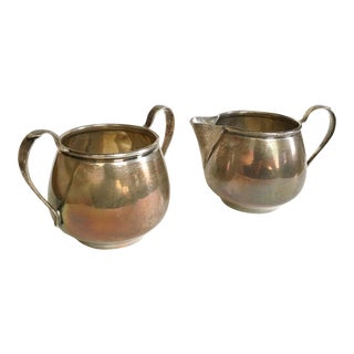 1800s Sterling Acme Creamer and Sugar Set - A Pair