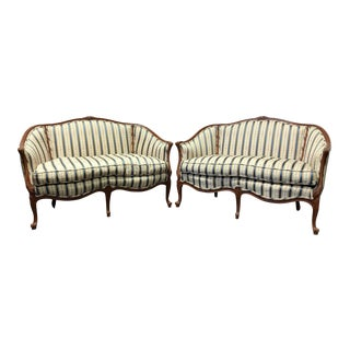 Vintage French Style Carved Wooden Frame Upholstered Settees - a Pair