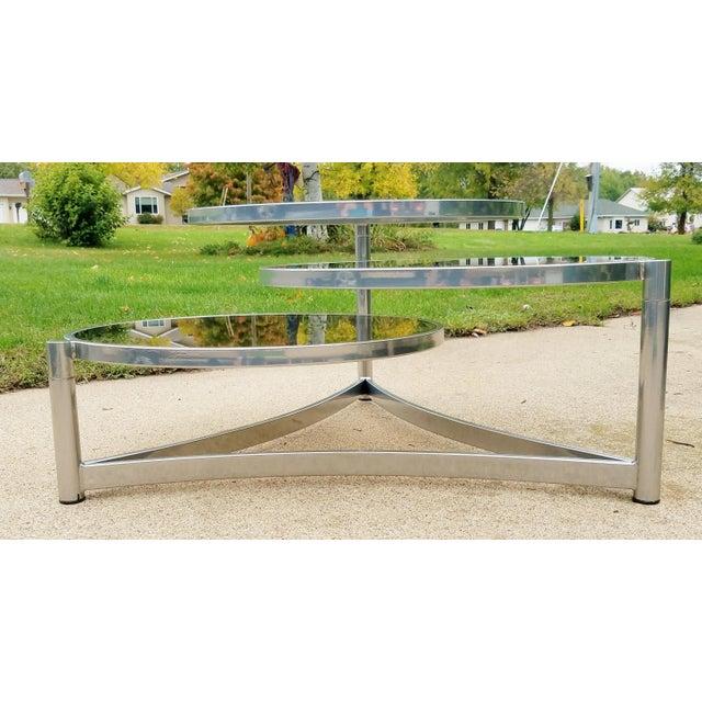 Milo Baughman Tri Level Chrome and Glass Swivel Coffee Table - Image 8 of 11