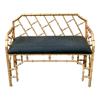Gilt Metal Hollywood Regency Style Bench