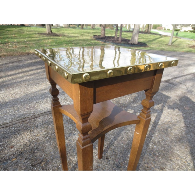 Brass Bradded and Wrapped Wine Table - Image 4 of 5