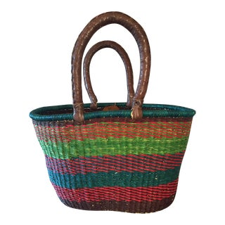African Handmade Turquoise Striped Basket