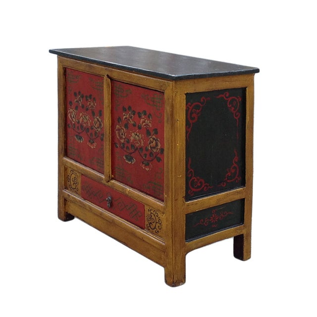 Chinese Yellow Red Floral Graphic Table Cabinet - Image 2 of 5