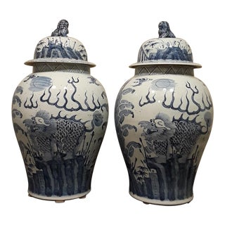 Blue & White Temple Ginger Jars - A Pair