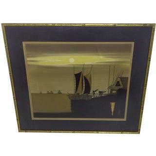 """""""Sailboats at Dusk"""", Original Print"""