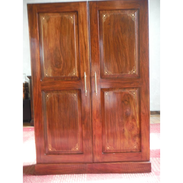 indian iron wood cd dvd armoire chairish. Black Bedroom Furniture Sets. Home Design Ideas